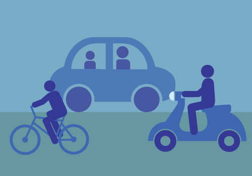 scooter, car and cyclist